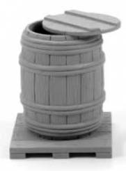 Open Wooden Barrel with Pallet & Lid