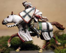 Mounted Teutonic Knight Charging with Cloak