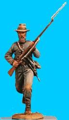 Confederate Running with Jacket Open, Rifle at Ready