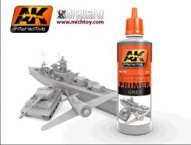AK Grey Acrylic Primer 60ml Bottle