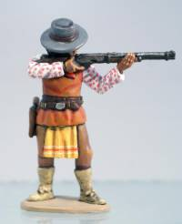 Apache Standing in Hat Firing Winchester