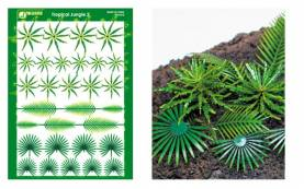 Multi-Scale Tropical Jungle Fern & Palm Plants (Colored Paper)