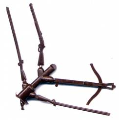Sprue of 4 Weapons - 2 ACW-AWI Muskets, Winchester Rifle, Crossbow