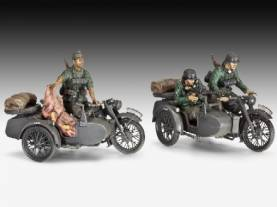 WWII German R12 Motorcycle with Sidecar and 3 Figures