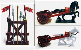 Roman Chariot Set - 2 Chariots, 2 Horses, Weapons