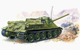 WWII Su100 Soviet Self-Propelled Gun on T34 Tank