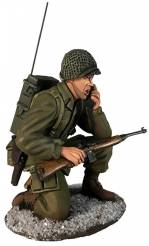 US 101st Airborne in M-43 Jacket Kneeling with SCR300 Radio, Winter 1944-45