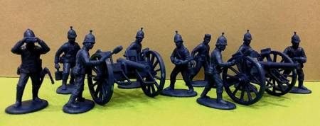 British Artillery in Spiked (Ball) Sun-Helmets w/9-pdr RML Field Guns