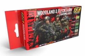 Figure Series: Woodland & Flecktarn Camouflage Acrylic Paint Set (6 Colors) 17ml Bottles