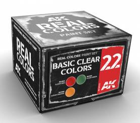Real Colors: Basic Clear Colors Acrylic Lacquer Paint Set (3) 10ml Bottles