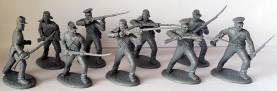 C.S. Militia Infantry in Shell Jackets in Gray Plastic