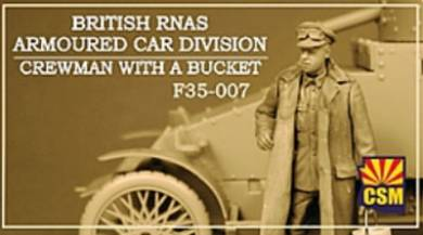 British RNAS Armoured Car Division Crewman with a bucket