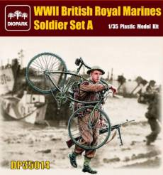 WWII British Royal Marine Soldier Carrying Bicycle & Rifle