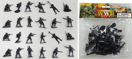 WWII German Infantry Figures (24 Gray) (Bagged)