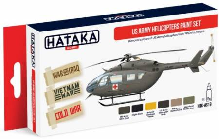 Red Line: US Army Helicopter 1950s-Present Paint Set (6 Colors) - Optimized For Airbrush - 17ml Bottles