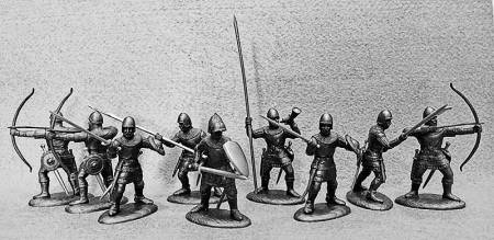 14th Century English Army Archers & Billmen in Dark Metallic Armor