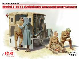 WWI American Model T 1917 Ambulance w/4 Medical Personnel