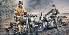 WWII US Soldiers on Motorcycles (2) D-Day