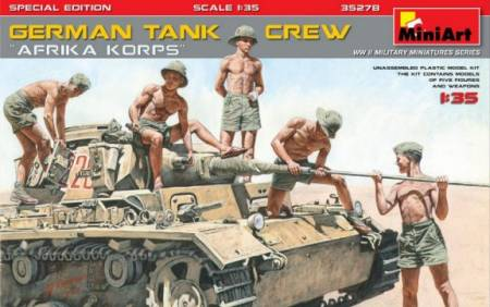 German Tank Crew Afrika Korps (5) w/Weapons (Special Edition)