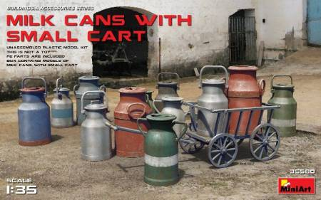Milk Cans w/Small Cart