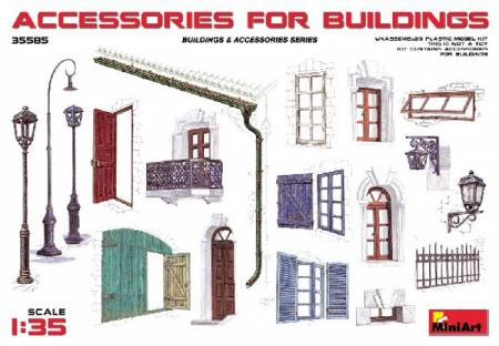 Accessories for Buildings: Gutter, Fence, Various Doors, Windows & Lamp Posts