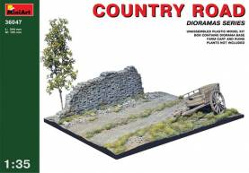Country Road Section (5in x10in) w/Farm Cart & Stone Wall Section