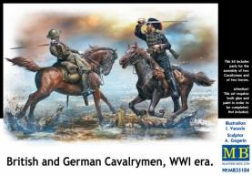 WWI British & German Fighting Cavalrymen (2 Figures w/Horses)