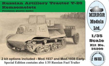 Russian Artillery Tractor T20 Komsomoletz Early w/Fuel Trailer
