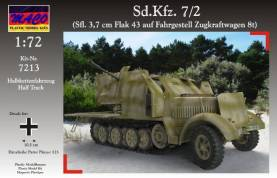 WWII German SdKfz 7/2 Halftrack w/AA Self-Propelled 3,7cm Flak 43 Gun