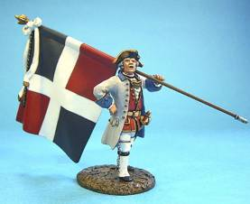 BATTLE ON THE PLAINS OF ABRAHAM 1759 - FRENCH OFFICER WITH REGIMENTAL COLORS #QF-02  - 1 AVAILABLE OOP