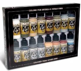 German WWII Europe & Africa Model Air Paint Set (16 Colors)