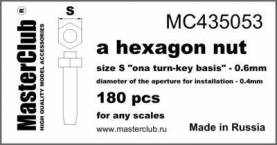 Hexagon standard Nut, head 0.6mm aperture 0.4mm 180 pcs.
