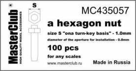 Hexagon standard Nut, head 1.0mm aperture 0.8mm 100 pcs.