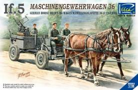 German If5 Horse Drawn MG Wagon & ZwillingsL 36 Gun w/3Crew
