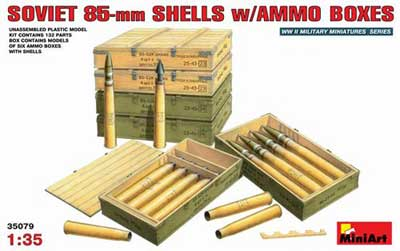 WWII Soviet 85mm Shells with Ammo Crates