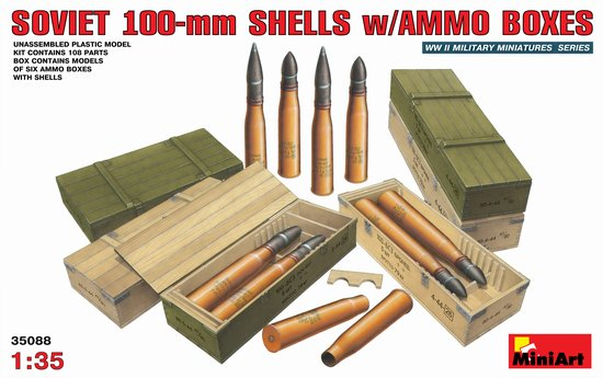 WWII Soviet 100mm Shells with Ammo Boxes