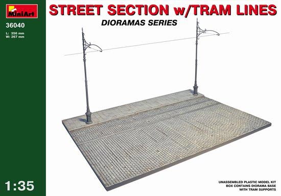 Street Section with Tram Lines Diorama Base