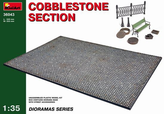 Cobblestone Section Diorama Base with Street Accessories
