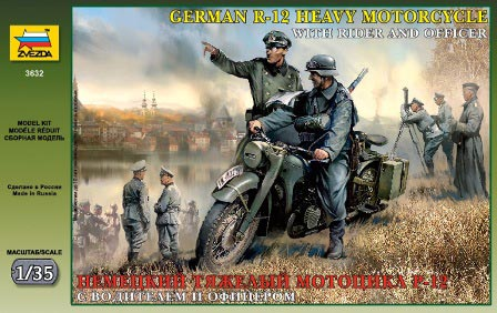 WWII German Solo Motorcycle R12 w/Crew