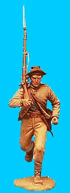 Confederate Running with Jacket Open, Rifle on Shoulder