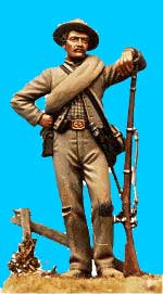 Confederate Standing Relaxed, Leaning on Rifle