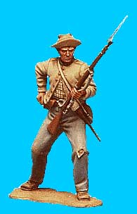 Confederate with Knees Bent, Reaching for Cartridge