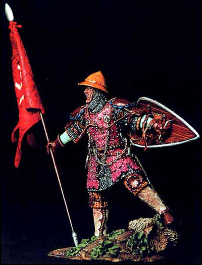 Medieval Knight with Flag 1320-1340