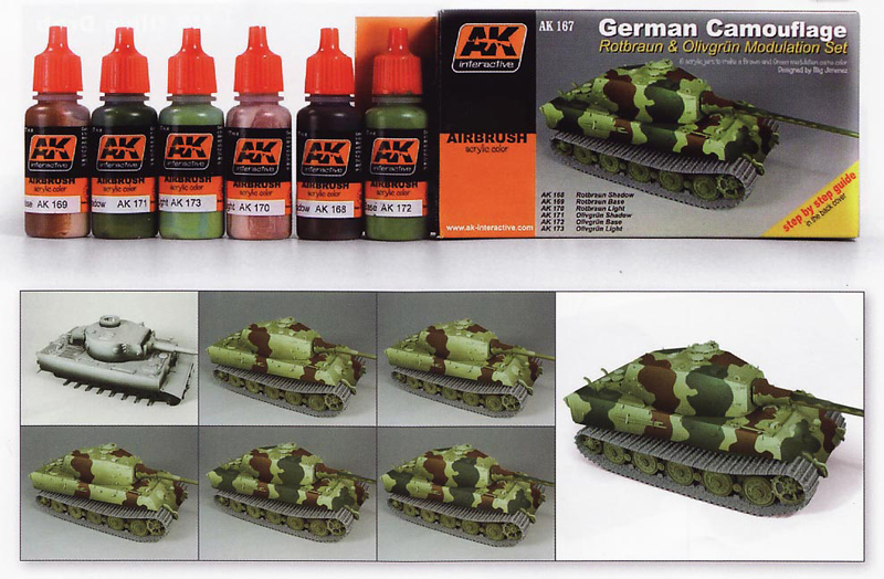 afv acrylic paint set german camouflage green brown color modulation set - Camo Paint Colors