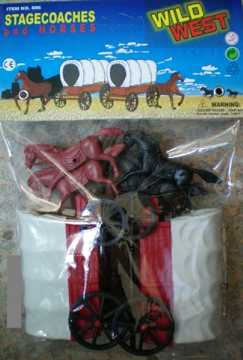 Wild West Covered Wagons  with 4 Horses Playset