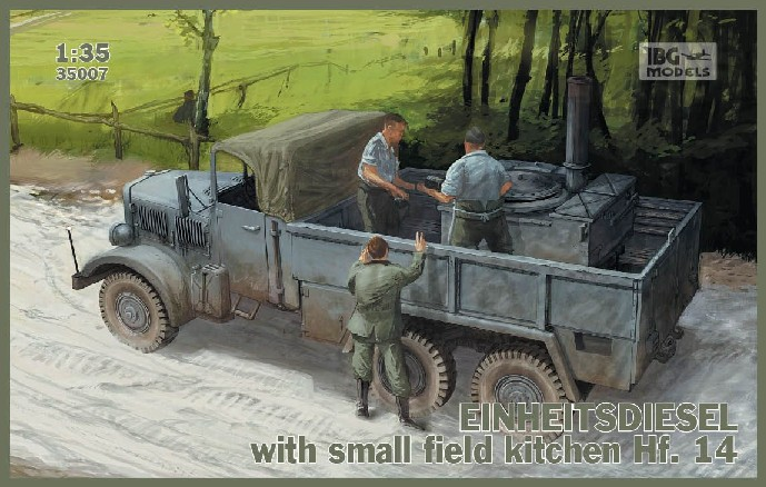 WWII German Einheits Diesel Cargo Truck w/Hf14 Small Field Kitchen