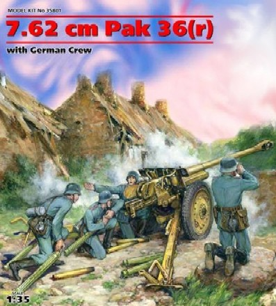 WWII German 7.62cm PaK 36(r) Gun with 4 Crew