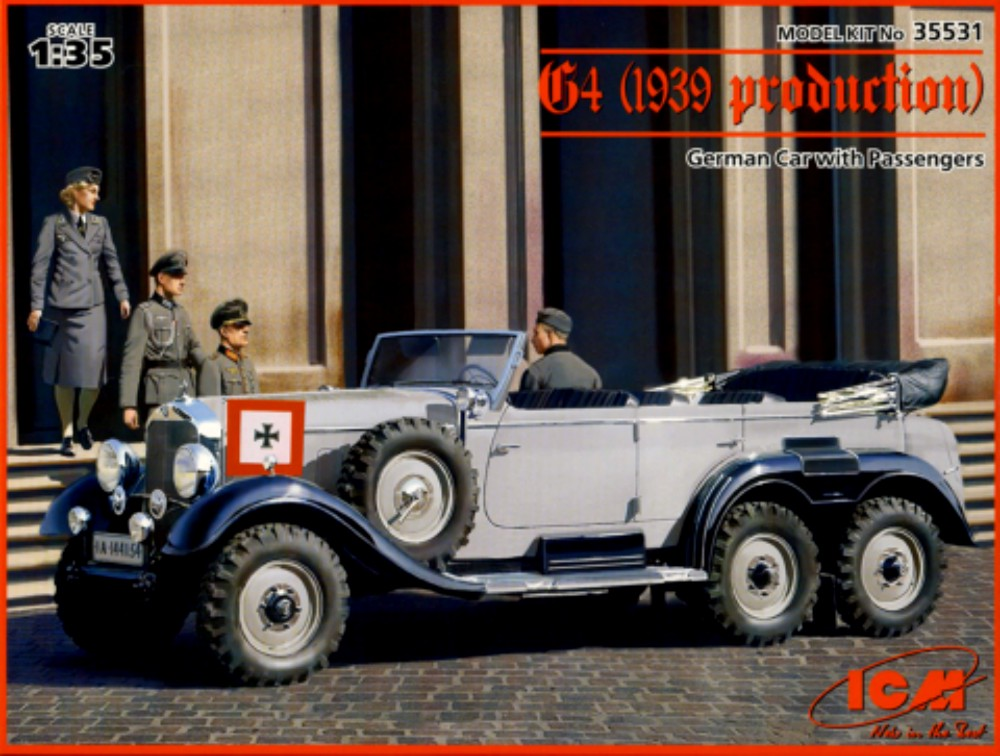 WWII G4 1939 German Staff Car with Figures