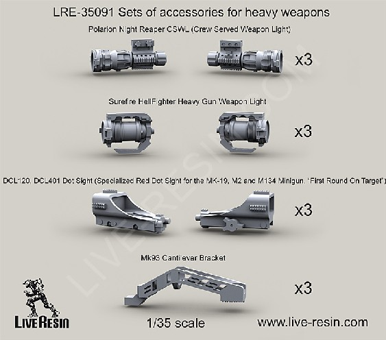 Heavy Weapon Accessories 3ea: Polarion Night Reaper CSWL, Surefire Hellfighter Gun Weapon Light, Mk 93 Bracket, DCL120/DCL401 Dot Sight