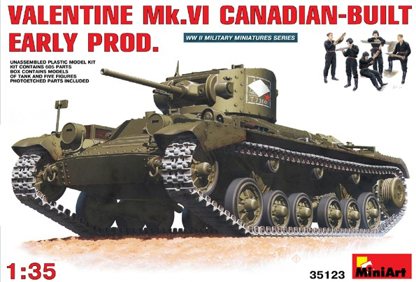 WWII Valentine Mk VI Canadian-Built Early Tank with 5 Crew